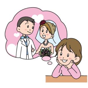 結婚式を夢見る女性