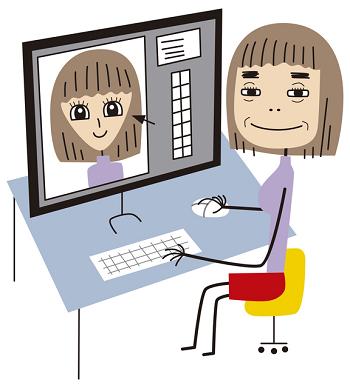 プロフィール写真を修整する女性