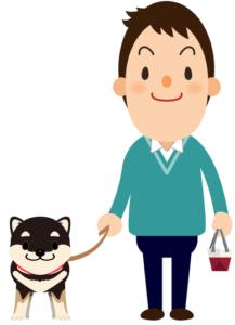 犬を散歩させる男性